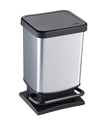 Rotho Paso Mülleimer 20 l mit geruchdichtem Deckel, Kunststoff (PP), silber metallic, 20 Liter (29,3 x 26,6 x...