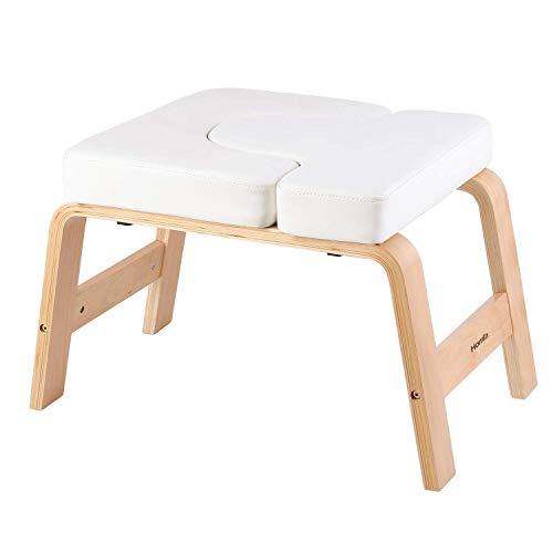 Homfa Yoga Kopfstandstuhl Kopfstandhocker Kopfstandbank mit Abnehmbarer PU-Kissen stabil weiß aus Birkenholz...
