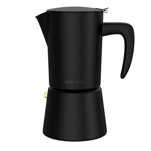 bonVIVO Intenca Espressokocher Induktion geeignet - Edelstahl Kaffeekocher in Schwarz Matt m. Wasserkessel,...