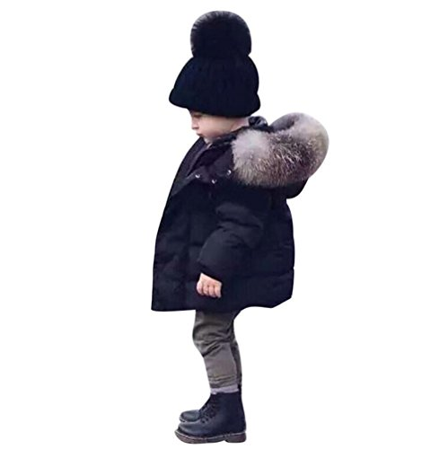 Longra Baby Kinder Mädchen Junge Daunenmantel Daunenjacken mit Fellkapuze Kinder Winterjacke Kapuzenmantel...