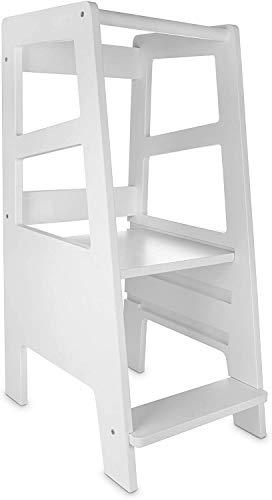 Lernturm - Learning Tower Ab 1 Jahr - Küchenhelfer Holz Weiß - Küchenhilfe Kinder - Möbel Hilft Zu Lernen...