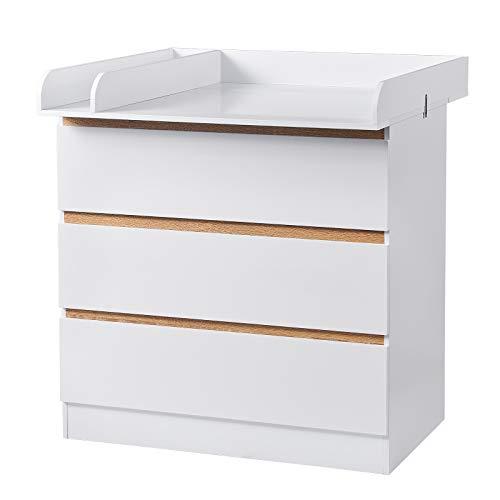WOLTU Wickeltisch Wickelstation mit 3 Schubladen Wickelkommode Babymöbel aus Spanplatte und MDF Weiß...
