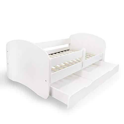 Alcube Kinderbett mit Rausfallschutz, Matratze und Schublade als Set, Bett für Jungen und Mädchen weiß...