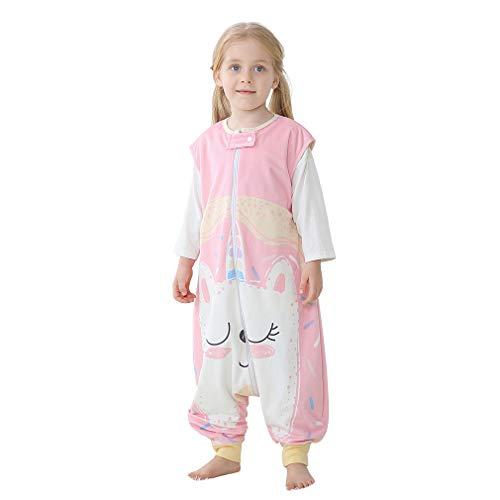 MICHLEY baby schlafsack mit Füßen, mädchen und Junge Schlafanzug Vierjahreszeiten,Katze 5-6 Jahre