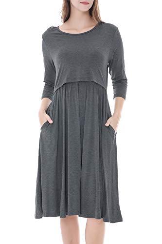 Smallshow Damen Schwangerschaftskleid Umstandsmode Kleide Umstandskleide Stillkleide Dim Grey M