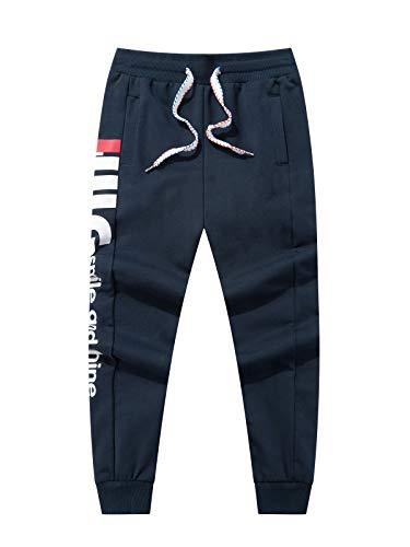 LAUSONS Junge Streetwear Sporthose Kinder Jogginghose Sweathosen, Dunkelblau, Größe 130/6-7 Jahre