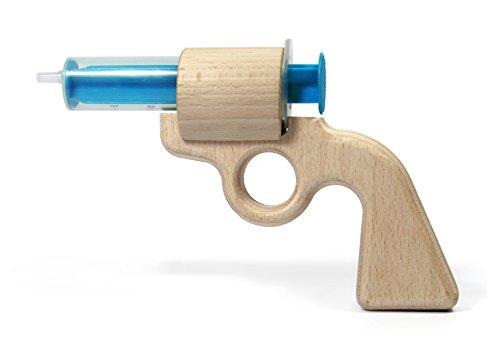 1 Stück Aqua Joe - die Wasserpistole aus Holz, Nachhaltig, Reparierbar, großer Spaß, Cowboy, (1, blau)