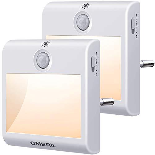 Nachtlicht Steckdose mit Bewegungsmelder, OMERIL 2 Stück Steckdosenlicht 3 Modi (Auto/ON/OFF) Helligkeit...
