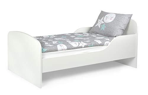 Leomark Funktionsbett aus Holz - White - Kinderbett mit Matratze, Holzbett mit Seitenschutz Lattenrost,...