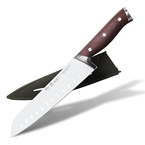 My-Blades® das Profi Santokumesser mit Holzgriff und extra scharfer Messer Klinge aus deutschem Stahl (18cm)...