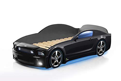 Kinderbett Babybett Jugendbett Autobett Bett 5 FARBEN Mustang PLUS FULL 184,5/74 cm (schwarz) + Matratze und...