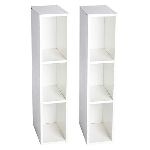 Puckdaddy Stauraumregal Lasse 2er Set – 19x30x93 cm, Stand-Regal aus Holz in Weiß passend zu IKEA Hemnes...