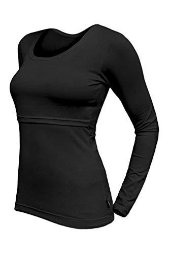Lara Stillshirt/Umstandsshirt, Langarm, Rundhals, Baumwolle, schwarz Größe S/M (34-40)