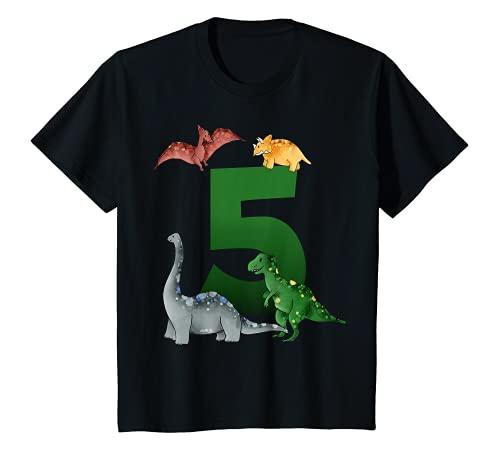 Kinder Geburtstagsshirt 5 Jahre Dinosaurier Dino 5. Geburtstag T-Shirt