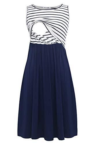 Smallshow Ärmelloses Patchwork-Umstandskleid mit Taschen für Frauen Navy Stripe-Navy Medium