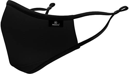 Premium Mund und Nasenschutz schwarz mit Nasenbügel und verstellbare Bänder. Mundschutz Maske aus Baumwolle,...