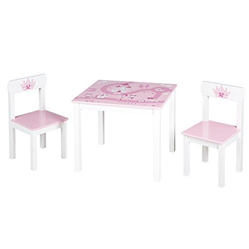 roba Kinder Sitzgruppe 'Krone', Kindermöbel Set aus 2 Kinderstühlen & 1 Tisch, Sitzgarnitur mit...