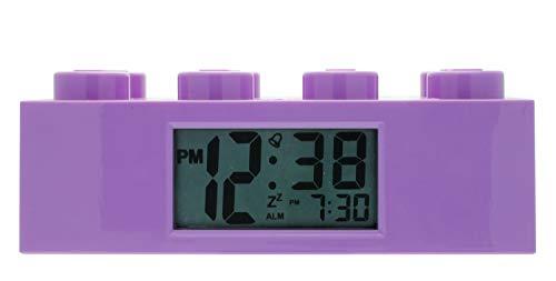 LEGO Friends 9009853 violetter Kinder-Wecker, violett, Kunststoff, 7 cm hoch, LCD-Display, Junge/Mädchen,...