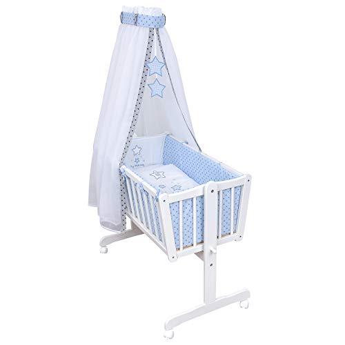 Baby Delux Babywiege Komplettwiegenset Stubenwagen mit Wiegenset Magic Stars blau inkl. kompletter Ausstattung...