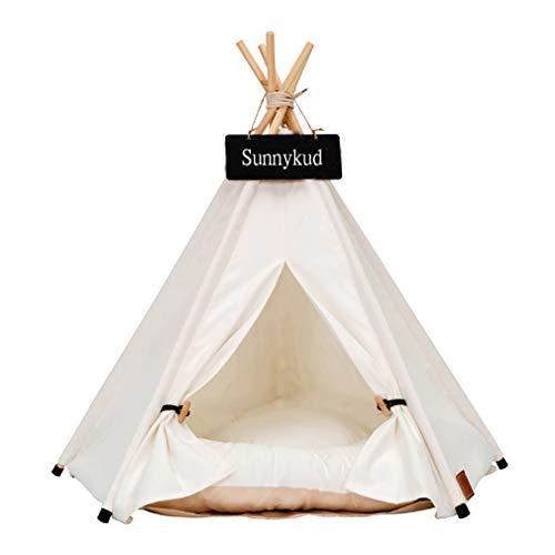 Sunnykud Tipi Zelt für Haustiere Hundezelt Katzenzelt Haustierzelte Häuser mit Kissen Abnehmbar und Waschbar...