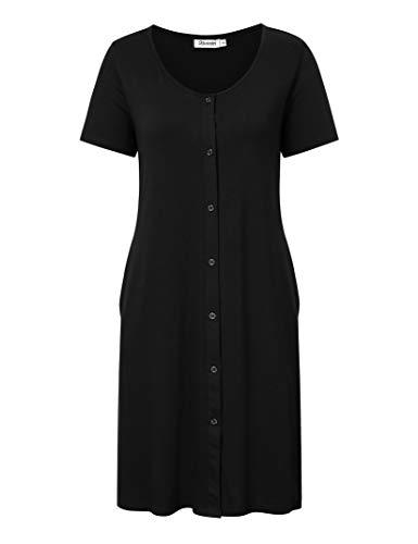 KOJOOIN Damen Geburt Stillnachthemd Schlafanzug Schwangerschaft Pyjama Nachtwäsche mit Durchgehender...