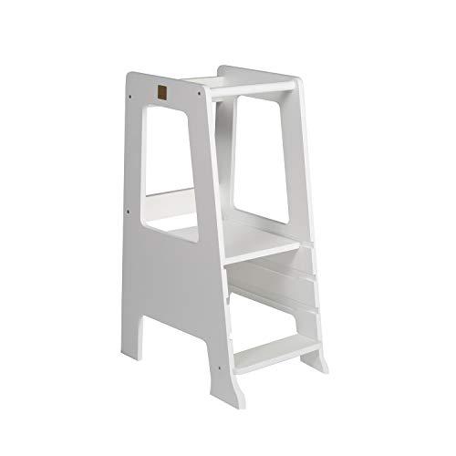 MEOWBABY Lernturm für Kinder Baby Lernstuhl Montessori Küchenhelfer Learning Tower Kitchen Helper Weiß Made...