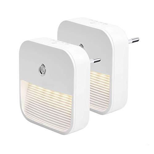 Nachtlicht Steckdose mit Dämmerungssensor 2 Pack Dimmbare LED Nachtlampe, Auto ON/OFF, Warm-Licht für...