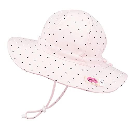 Foruhoo Mädchen Sonnenhüte UV Schutz, Verstellbarer Breite Krempe Sommermütze für Baby (52, Punkt Rosa)