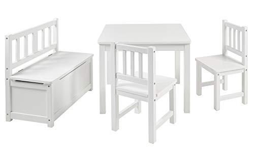 BOMI Kindertisch mit 2 Stühle mit integrierter Spielzeugkiste | Kindertruhenbank aus Kiefer Massiv Holz |...