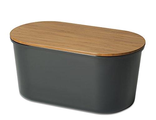 Echtwerk Brotbox 'Fresh' Brotkasten, Akazienholz/Melamin, schwarz, 37 x 17 x 22 cm