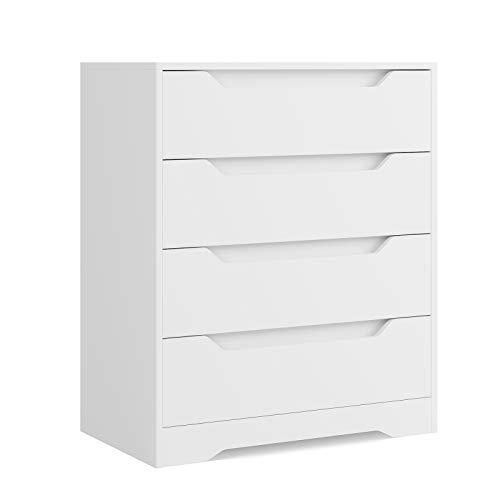HOMECHO Schubladenkommode in Weiß Kommode mit 4 Schubladen Schubladenschrank für Schlafzimmer Wohnzimmer...