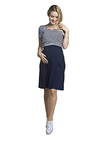 Torelle Maternity Wear Damen Sommerkleid Umstandskleid Stillkleid, Modell: TILLA, Kurzarm, dunkelblau-Weiss,...