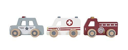 Little Dutch 4388 Holz Spielzeugautos Einsatzfahrzeuge 3 Stück, Krankenwagen, Polizei & Feuerwehr