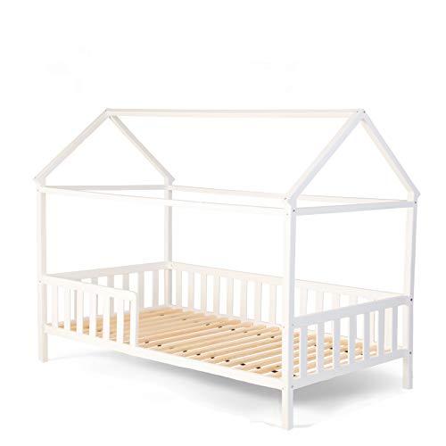 Alcube Hausbett 160x80 cm - stabiles Kinderbett mit wechselbarem Rausfallschutz und Lattenrost - weiß...