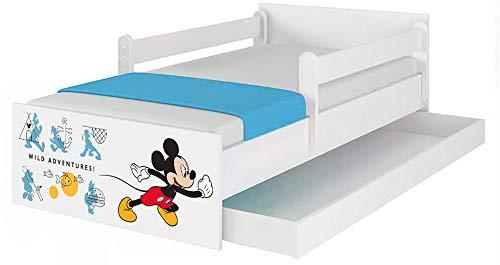 Original Disney's Kinderbett mit Rausfallschutz, Schublade und Matratze (90x180, Mickey II)