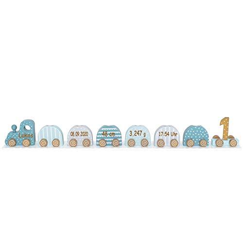 Elefantasie Geburtstagszug Kerzenhalter aus Holz mit Namen und Geburtsdaten graviert blau