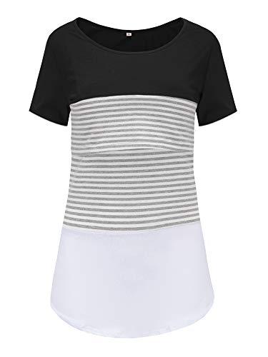 Love2Mi Damen Mutterschaft Spitze gestreift Stillende Oberteile Kurzarm Stitching Stillendes T-Shirt, Schwarz,...