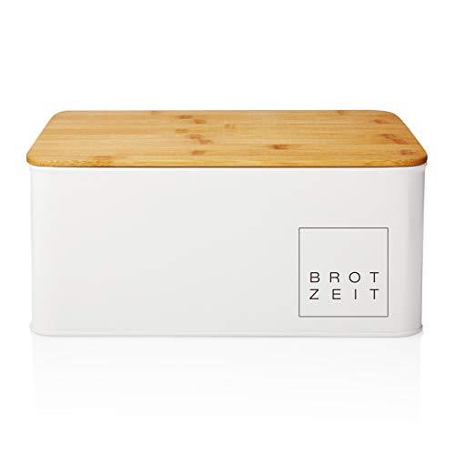 Lumaland Cuisine Brotkasten Brotdose Brotbox aus Metall mit Bambus Deckel, Brotbehälter rechteckig, 30,5 x...