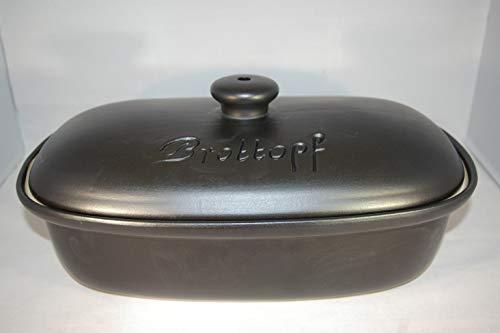Töpferei Seifert Brottopf schwarz matt Gross 40 cm | Brotkasten | Brotbox | Brotdose | Brotbehälter |...