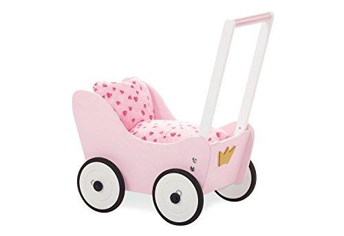 Pinolino Puppenwagen Prinzessin Lea, aus Holz, mit Bremssystem, Lauflernhilfe mit gummierten Holzrädern, für...