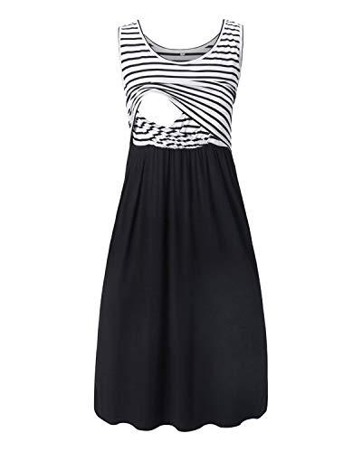 Love2Mi Damen Umstandskleid Streifen Stillkleid Ärmellos Schwangere Sommerkleid-Weißer Streifen / Schwarz-L