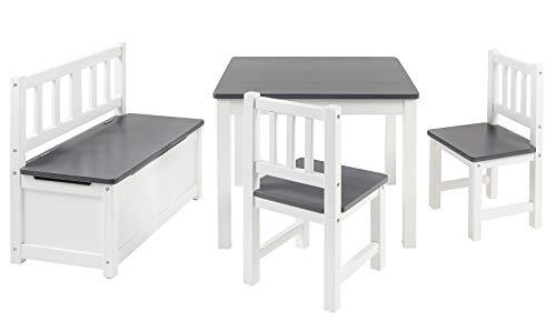 BOMI Kindermöbel Tisch und Stühle | Kindertruhenbank aus Kiefer Massiv Holz | Kindersitzgruppe für...