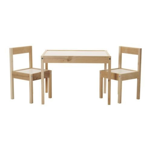 Ikea LATT-Kindertisch mit 2 Stühlen, weiß, Kiefer, beige, Table with 2 Chairs