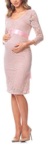 Be Mammy Damen Umstandskleid Maternity Schwangerschaftskleid BE20-170 (Puderrosa, L)