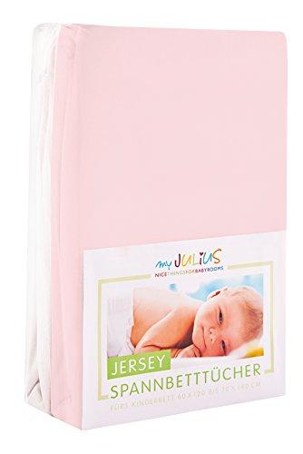 Julius Zöllner Jersey Spannbetttuch Doppelpack für das Kinderbett, Gr. 60x120 / 70x140, rosa & weiß