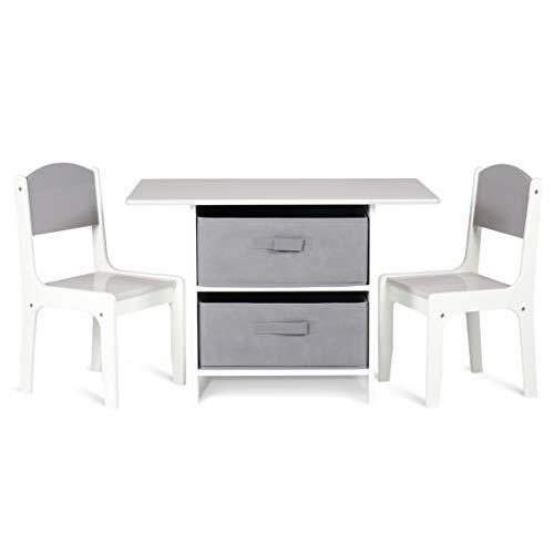 Milliard Kindersitzgruppe, Kindertisch mit 2 Stühle - Holz Kindermöbel Sitzgruppe mit Stauraum, Natur Weiß...