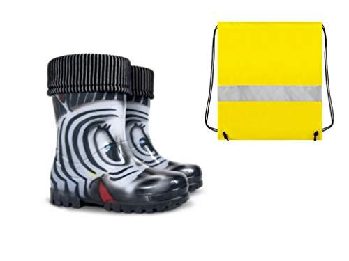 Demar Gummistiefel Kinder Regenstiefel Kinderstiefel gefüttert mit Innensocken Mädchen Jungen Zebra +...