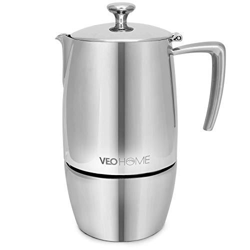 VeoHome Mokka Pot Espressokocher 10 Tassen 500 ml - Edelstahl italienische Mokka kanne Induktionsherd, Gas,...