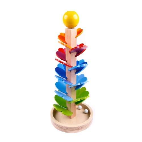 Brink Holzspielzeug Klangbaum aus Holz mit Glaskugeln Musik Motorik Tonleiter Murmelbahn Holzspielzeug