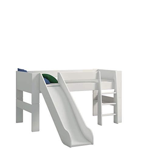 Steens For Kids Kinderbett, Hochbett, inkl. Rutsche, Absturzsicherung & Leiter, Liegefläche 90 x 200 cm, MDF,...